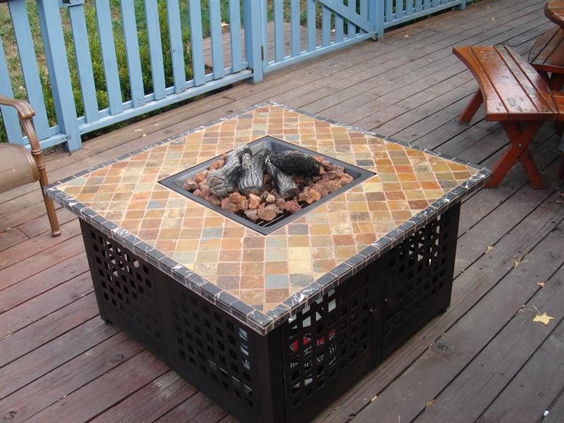 Image of: Propane Firepit Table Deck