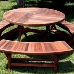 Round Folding Picnic Table Bench
