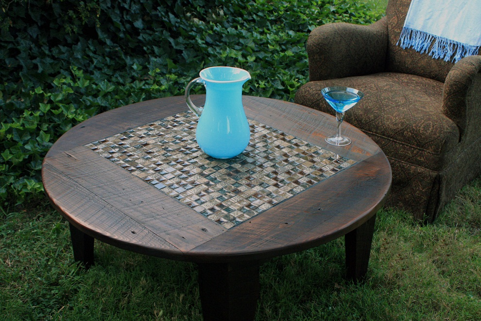 Picture of: Round Patio Coffee Table Tile Mosaic