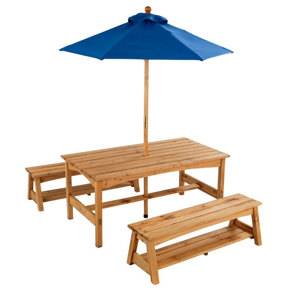 Picture of: Rustic Picnic Table with Umbrella