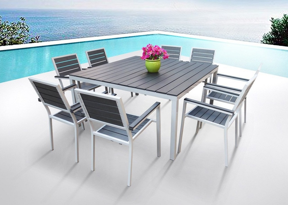 Image of: Square Patio Dining Table Aluminum Resin