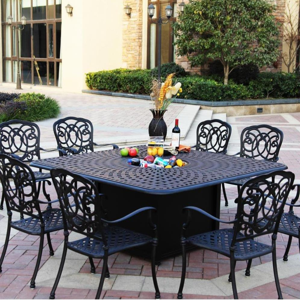 Image of: Square Patio Dining Table Black Metal