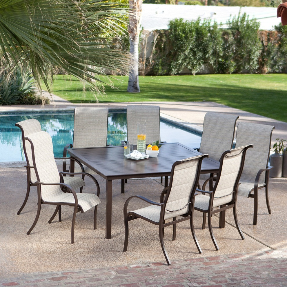 Image of: Square Patio Dining Table Set