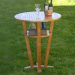 Teak Round Outdoor Patio Bar Table