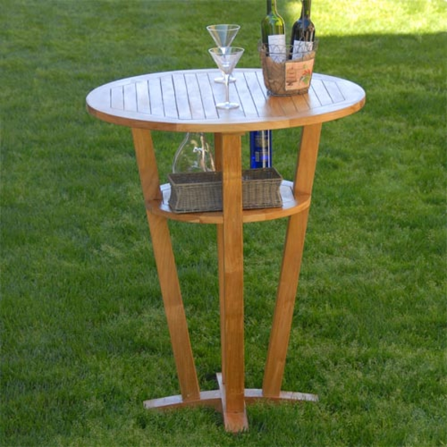 Picture of: Teak Round Outdoor Patio Bar Table