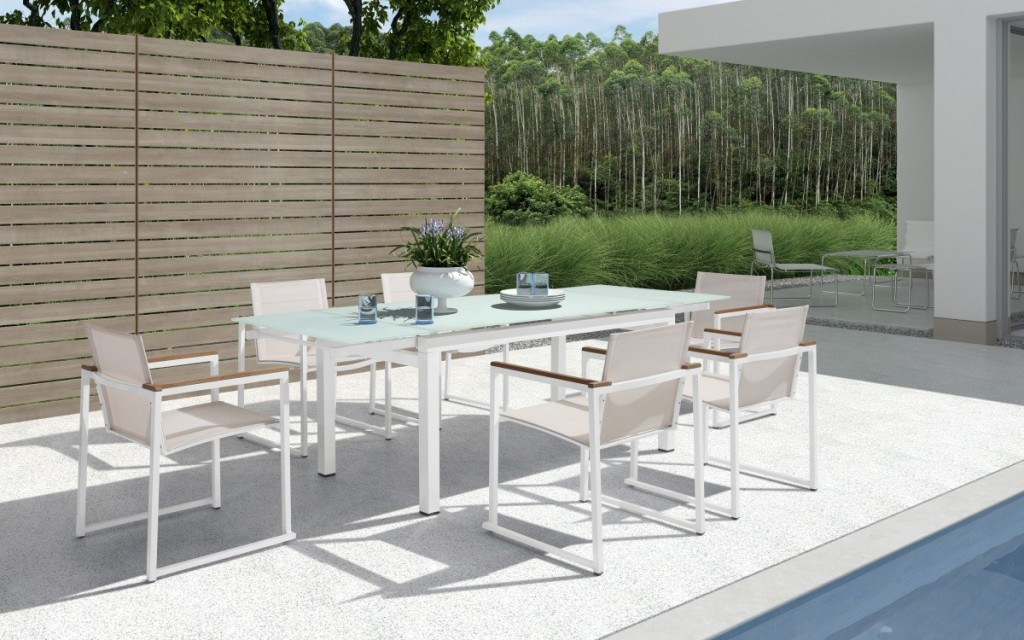 Picture of: White Patio Dining Table For 10