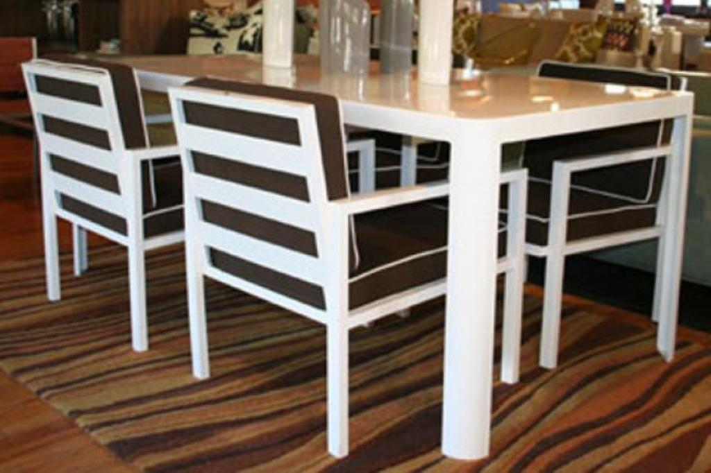 Picture of: White Patio Dining Table and Chair
