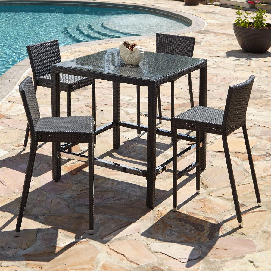 Image of: Wicker Bar Patio Table