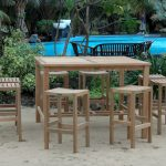 Wood Bar Height Patio Table And Chairs