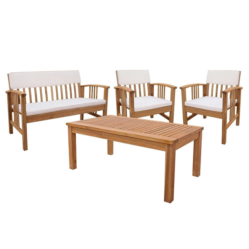 Wood Patio Dining Table Set