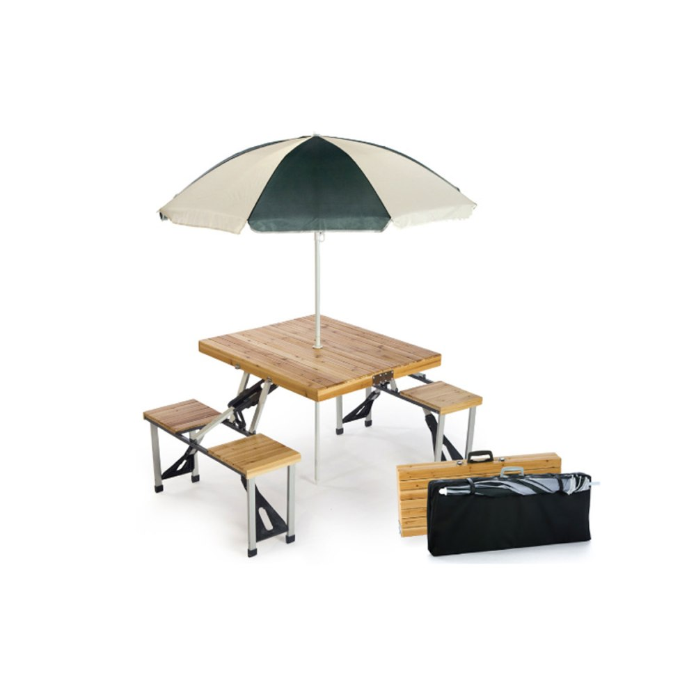 Picture of: Wooden Picnic Table with Umbrella