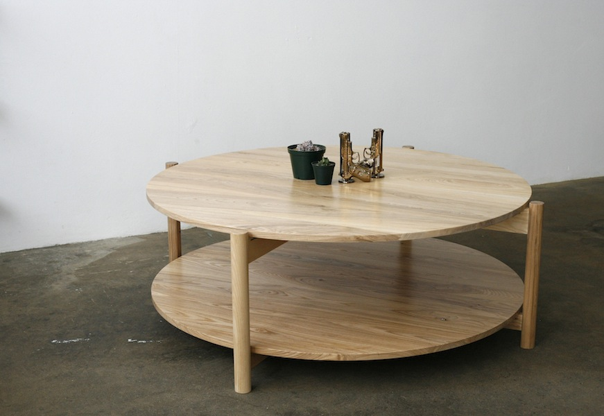 Picture of: Wooden Round Patio Coffee Table
