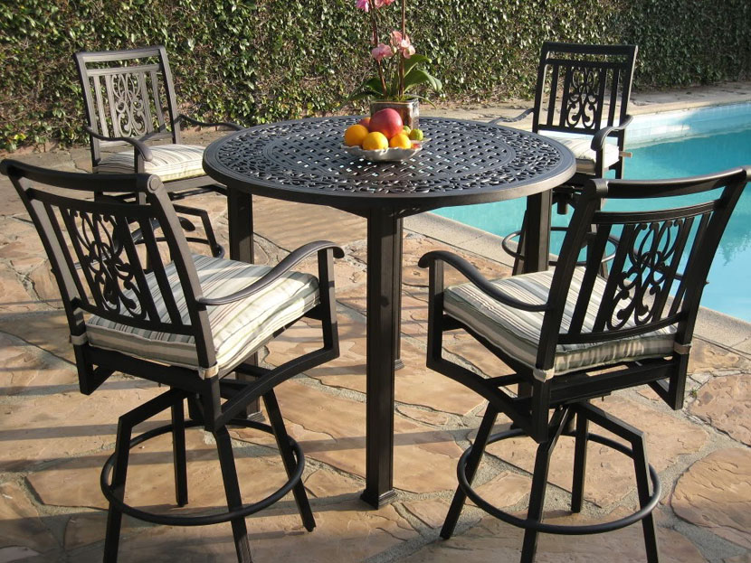 Picture of: Wrought Iron Patio Dining Table Color