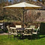 Wrought Iron Patio Dining Table with Umbrella