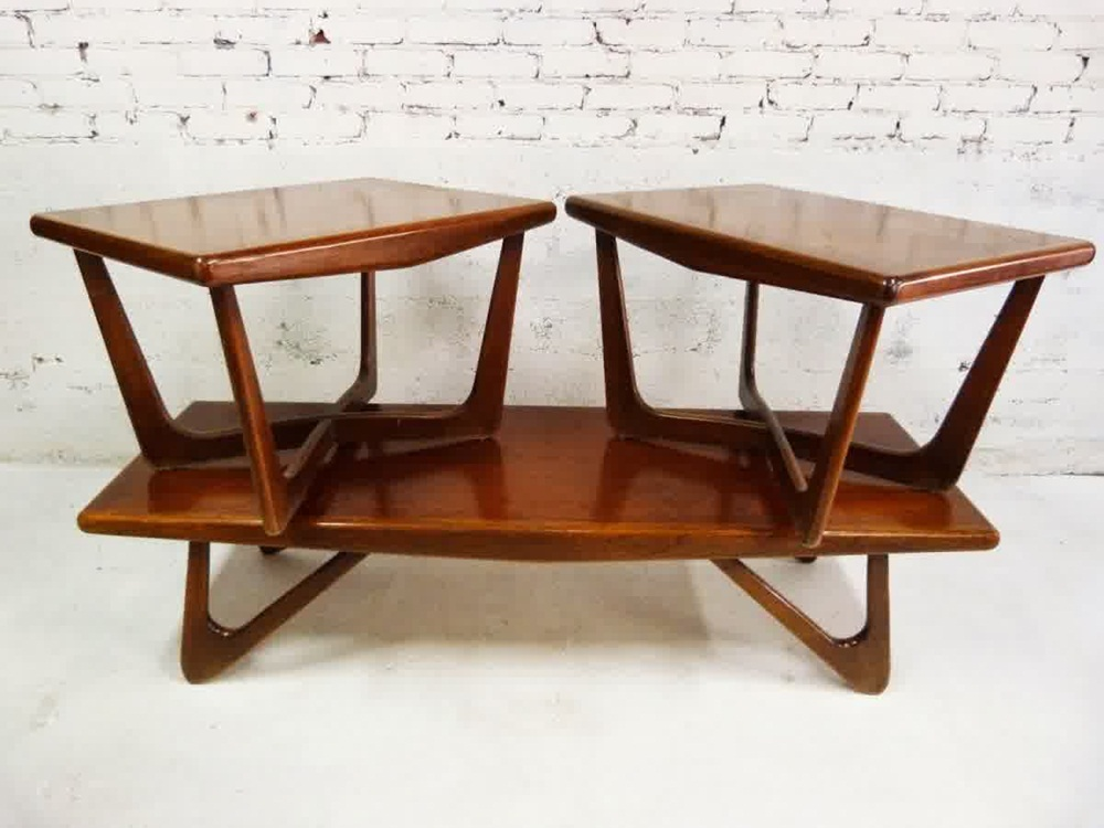 Image of: Double Mid Century Modern End Tables
