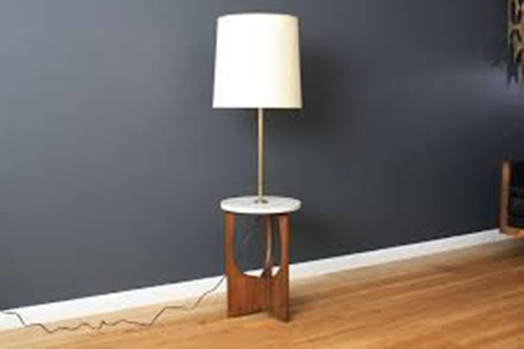 Glass Floor Lamp with Table Attached