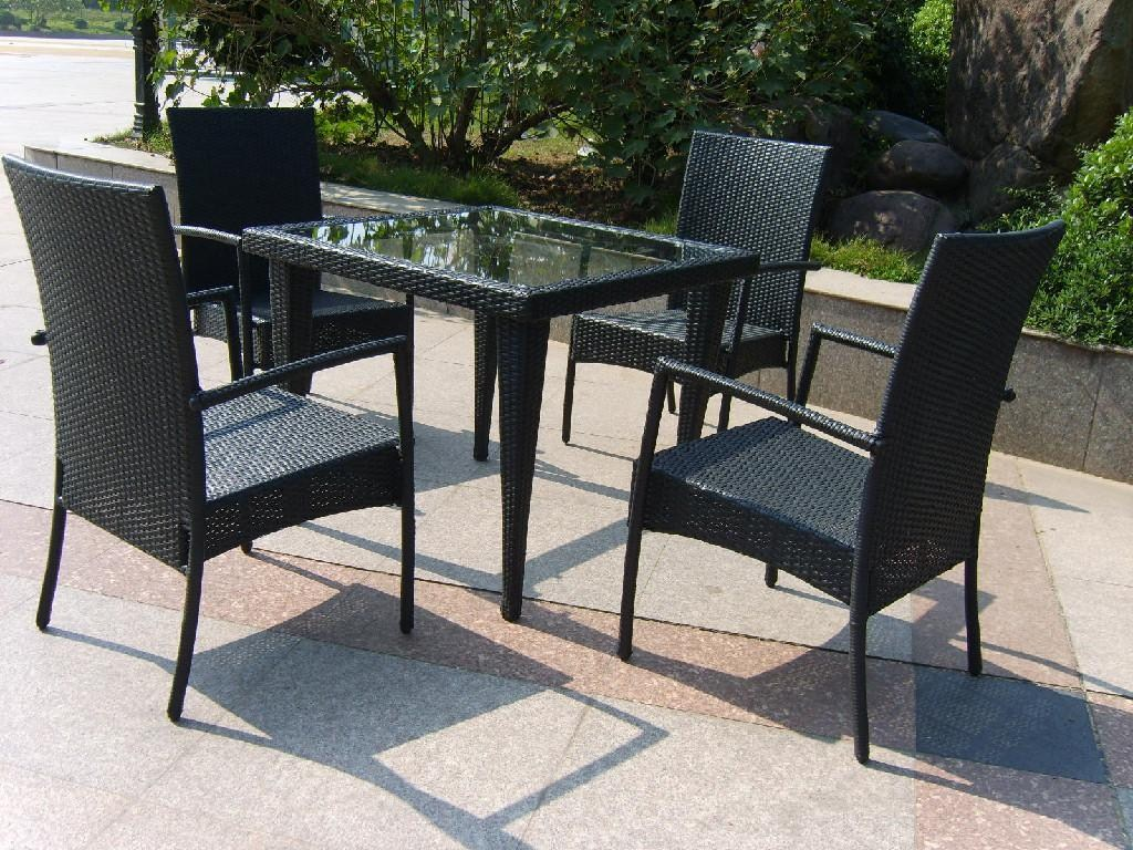 Picture of: Black Resin Patio Table