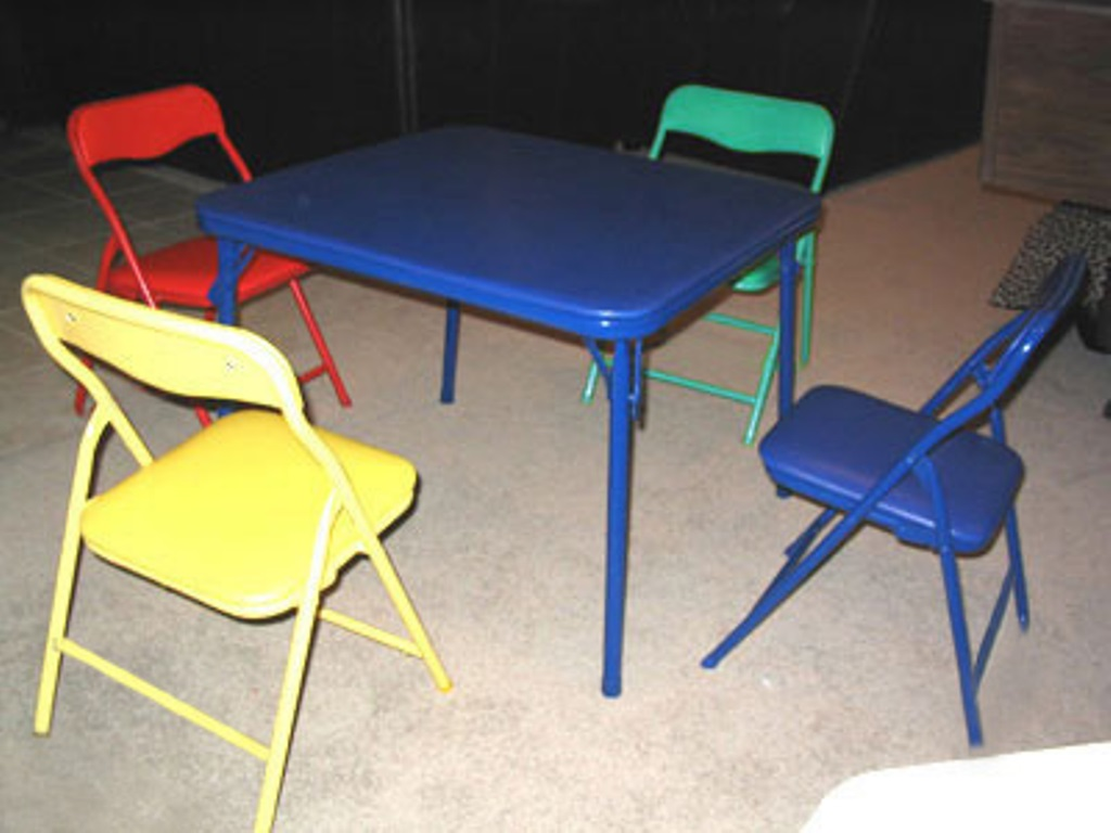 Picture of: Blue Children Folding Table and Chairs