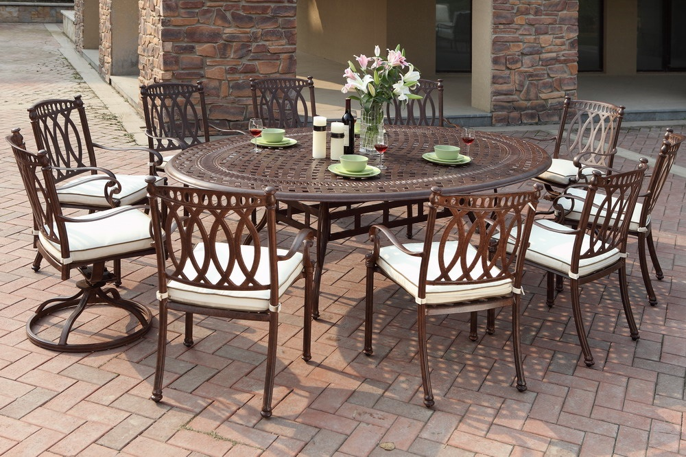 Image of: Cast Aluminum Patio Table Design