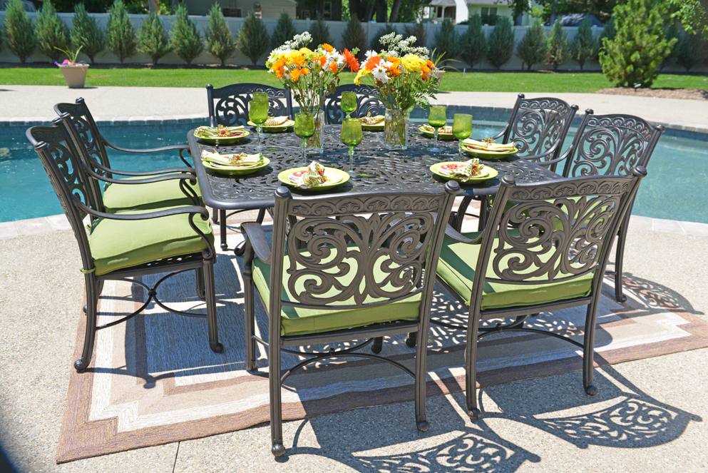 Image of: Cast Aluminum Patio Table Square Furniture
