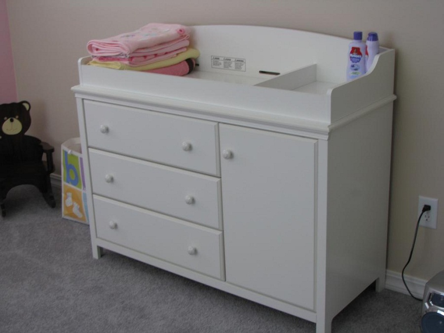 Image of: Changing Table and Dresser White Color