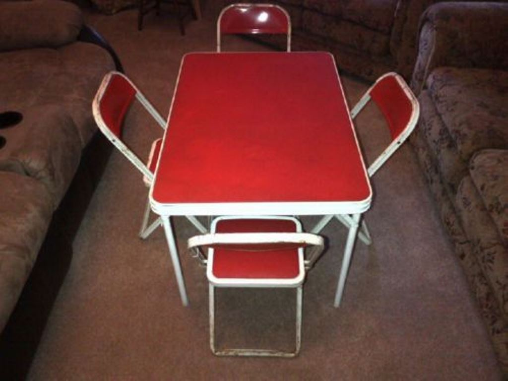 Picture of: Children Folding Table and Chairs for Eating