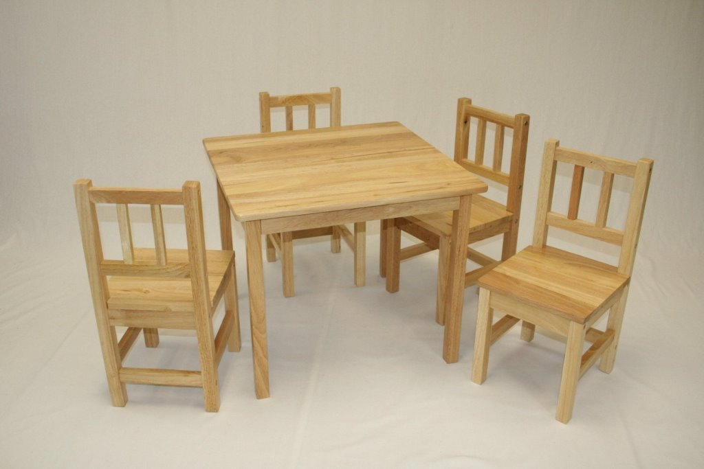 Children Folding Table And Chairs From Wood