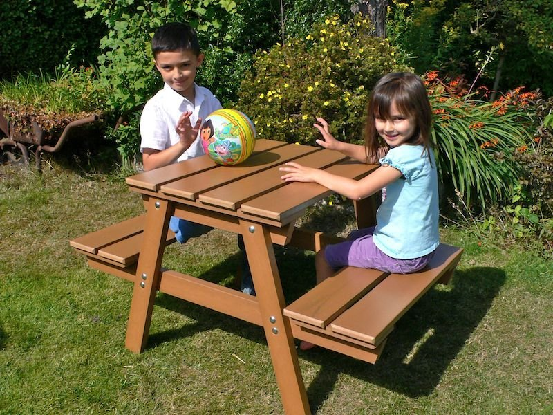 Image of: Childrens Picnic Table Backyard Wood