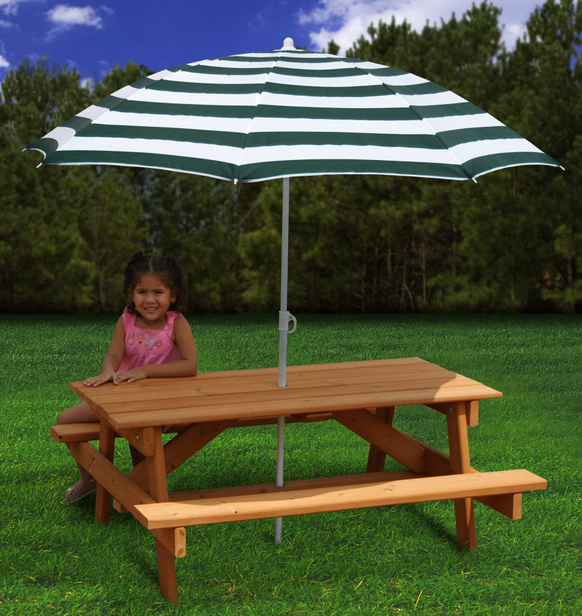 Image of: Childrens Picnic Table White Umbrella