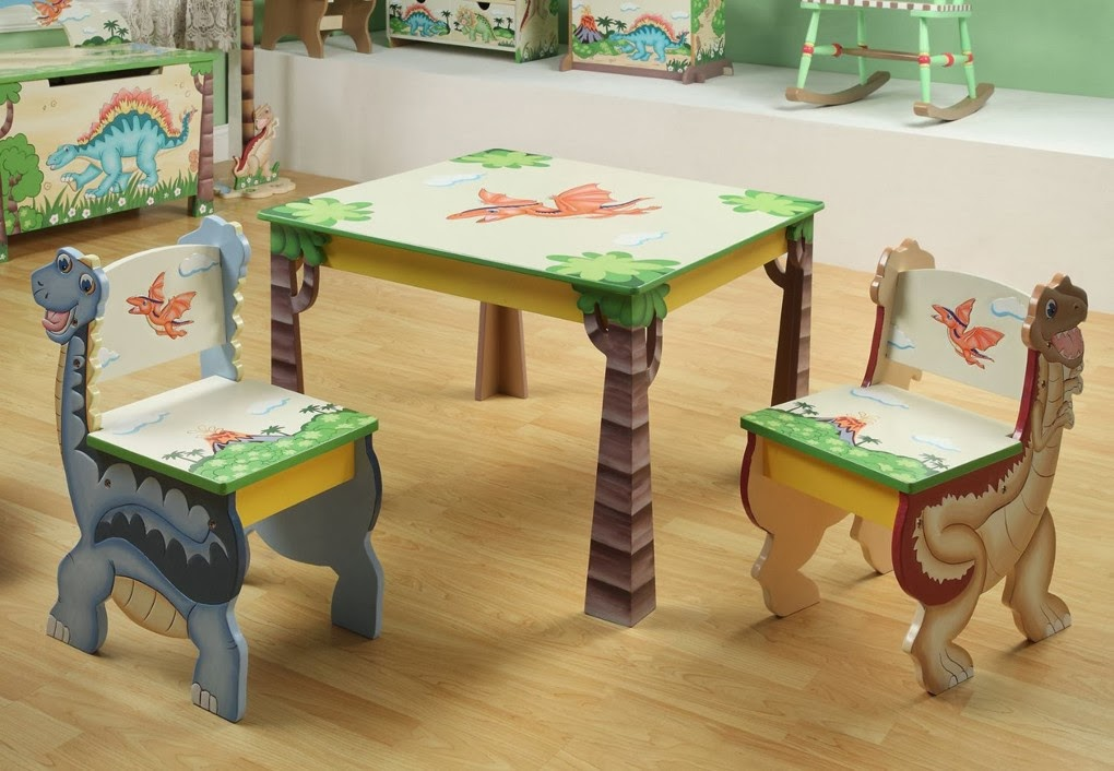Picture of: Childrens Tables and Chairs Dinosaurs