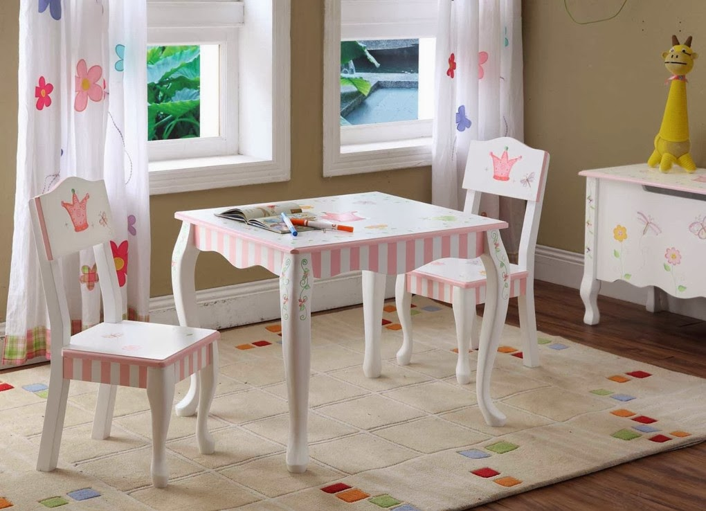 Picture of: Cute Childrens Wooden Table and Chairs