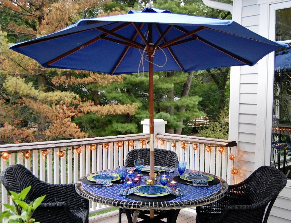 Picture of: Dining Patio Table with Umbrella Hole