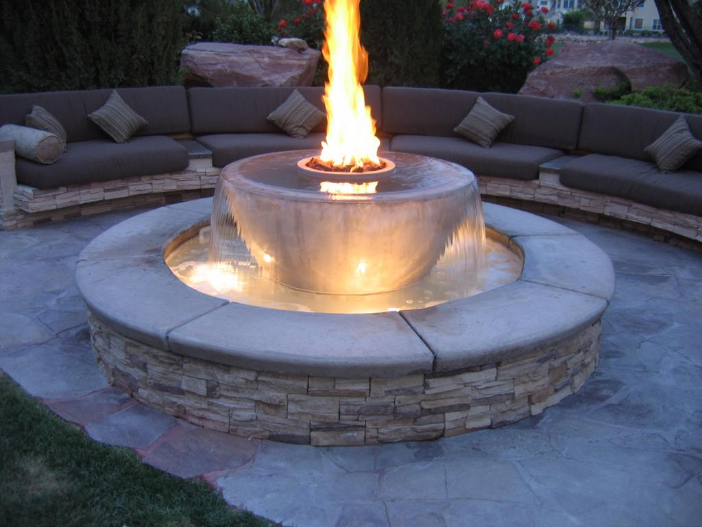 Image of: Gas Firepit Table Water Fountain