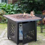 Gas Firepit Table With Tile Mantel