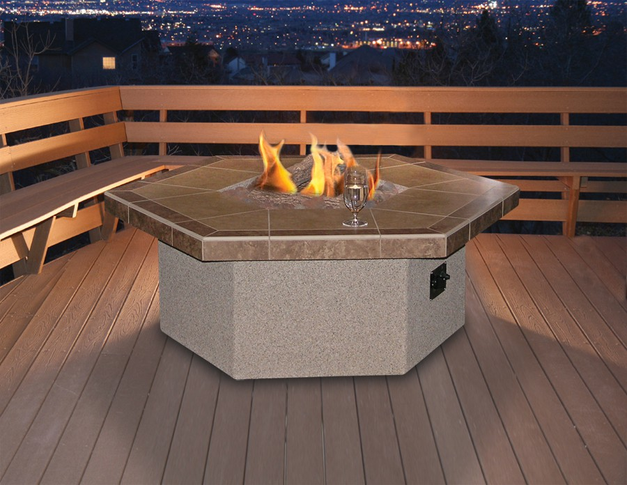 Image of: Hexagon Patio Table Firepit