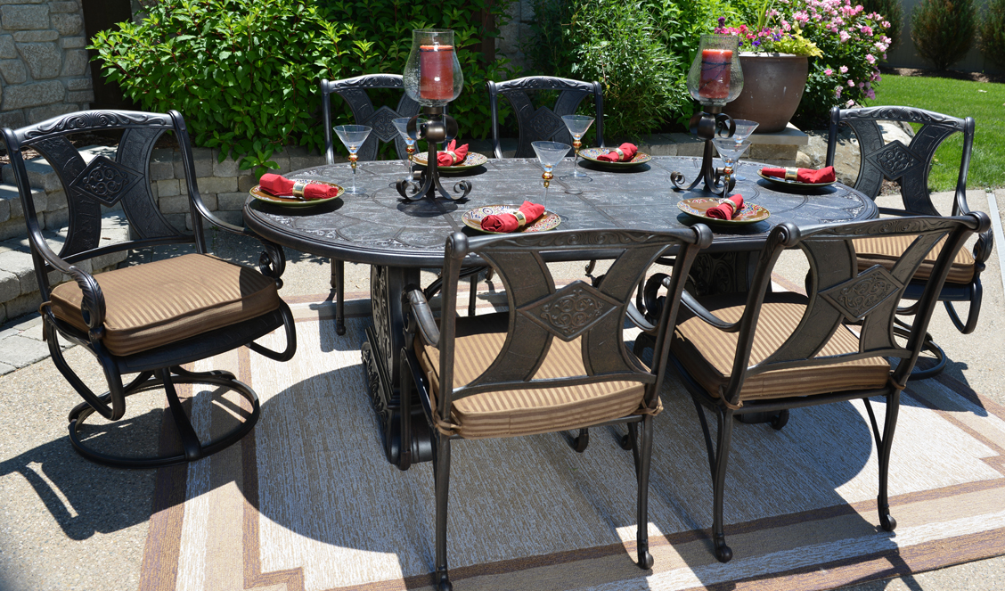 Image of: Luxury Cast Aluminum Patio Table