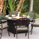 Outdoor Dining Table With Fire Pit Iron