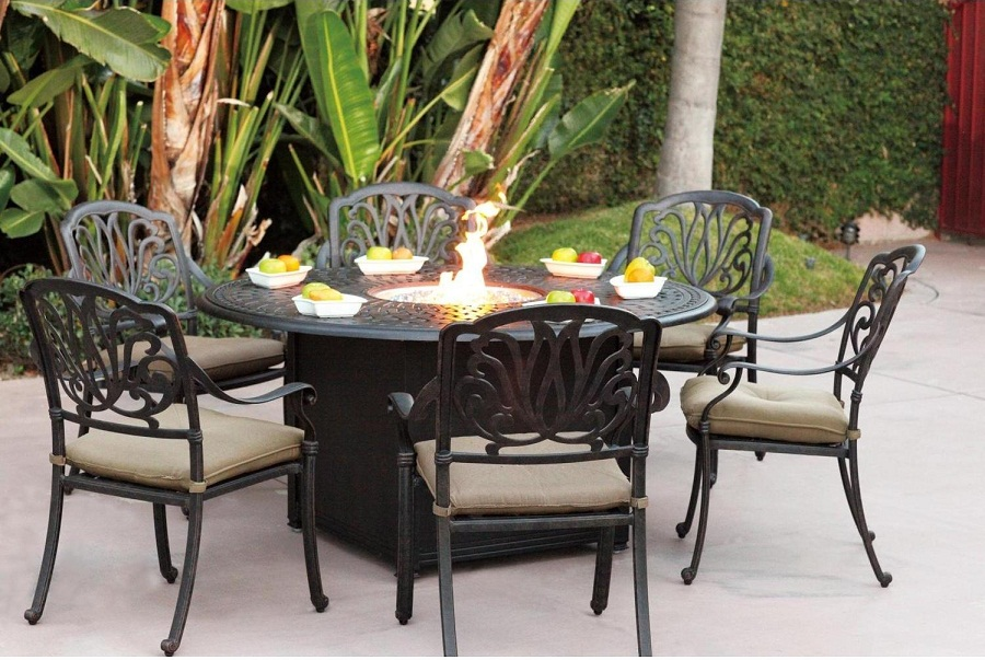 Image of: Outdoor Dining Table with Fire Pit Iron