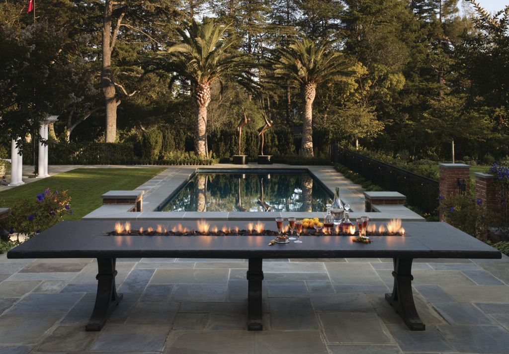 Outdoor Dining Table with Fire Pit Long