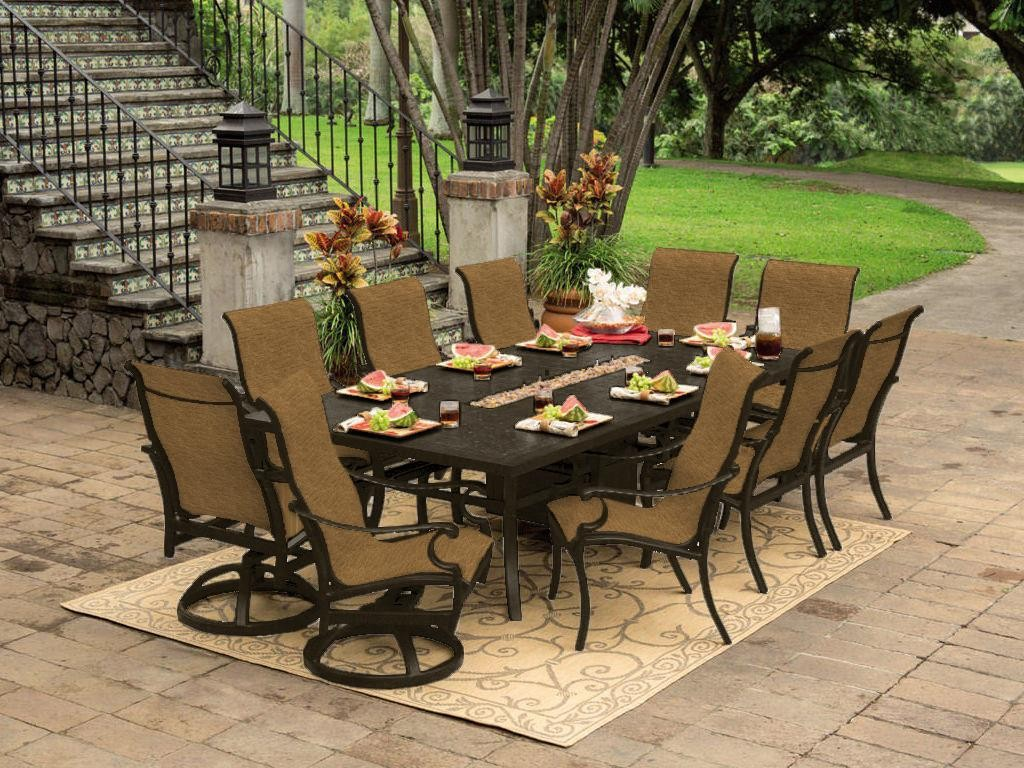 Picture of: Outdoor Dining Table with Fire Pit Sets