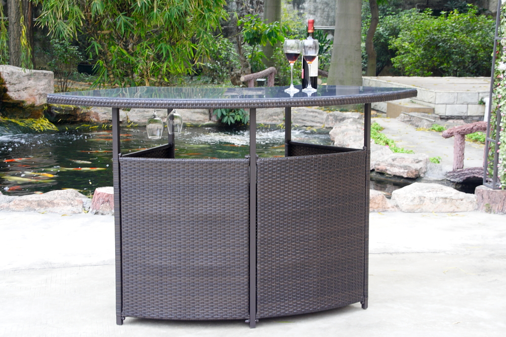 Picture of: Patio Bar Table Rattan