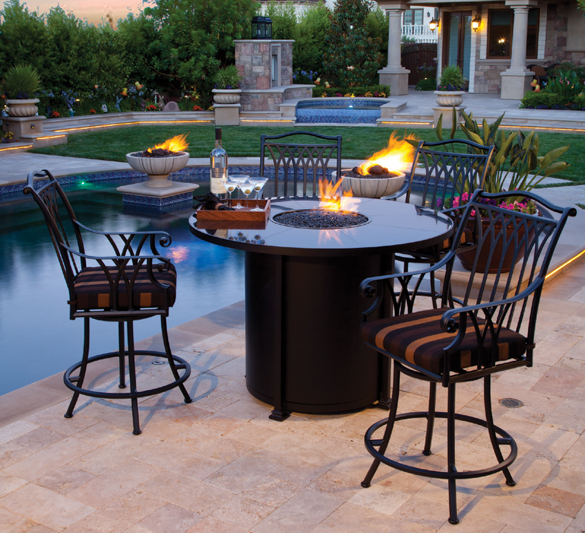 Image of: Patio Fire Table Pool