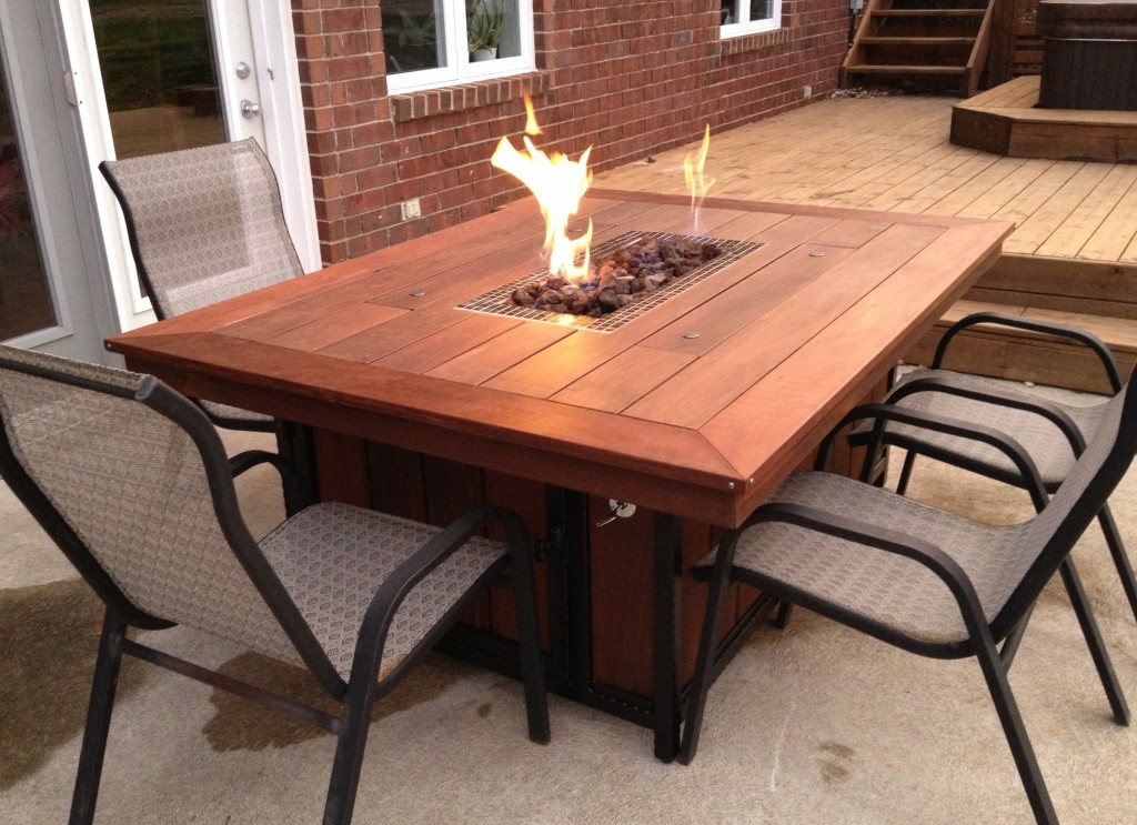 Image of: Patio Fire Table Wood