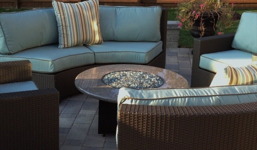 Picture of: Patio Furniture with Fire Pit Table Propane