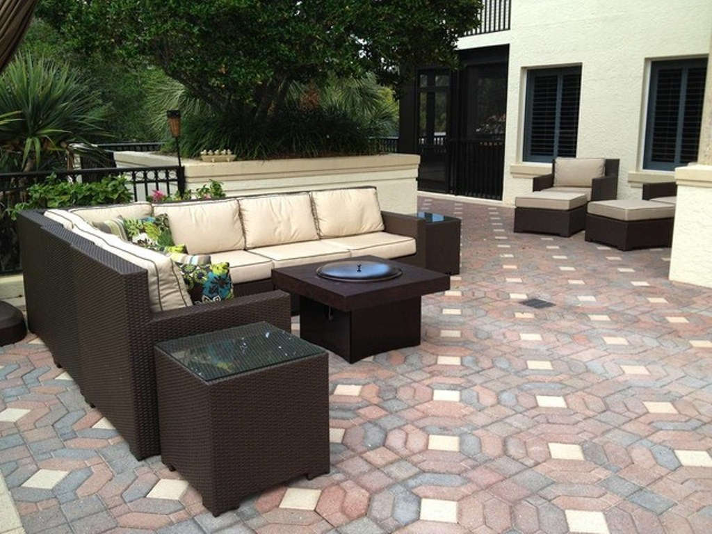 Picture of: Patio Furniture with Fire Pit Table Set