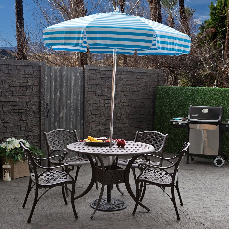 Picture of: Patio Table with Umbrella Hole Iron
