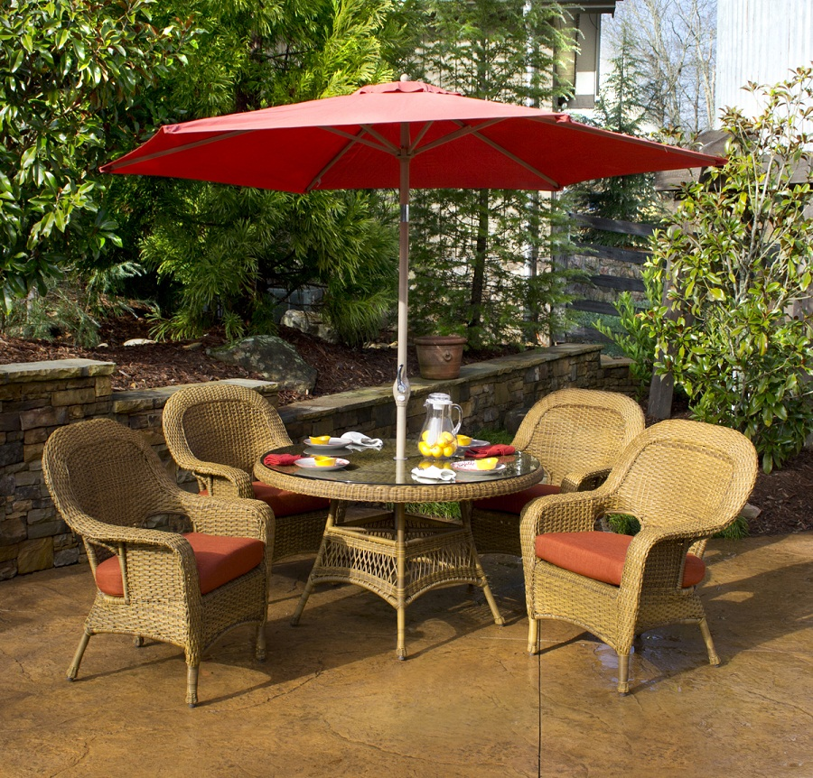 Picture of: Patio Table with Umbrella Hole Ring