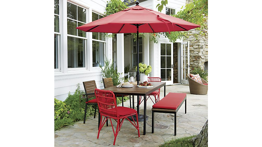 Picture of: Rectangle Patio Dining Table with Umbrella