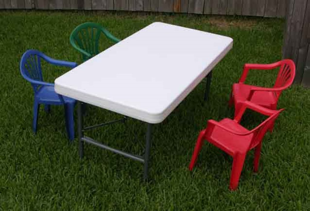 Picture of: Red Children Folding Table and Chairs