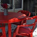 Red Resin Patio Table